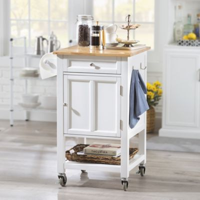 Rolling Kitchen Storage Cart with Wood Top