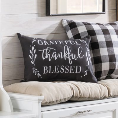 Grateful, Thankful, Blessed Throw Pillow