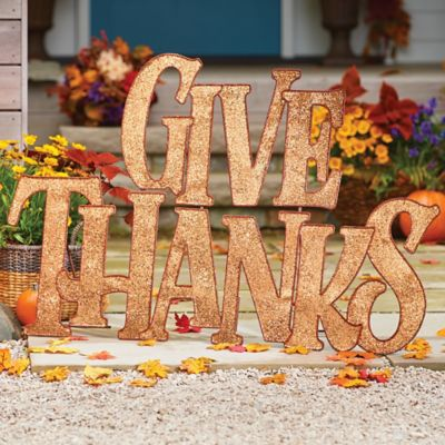 Give Thanks Metal Sign Outdoor Fall Decor