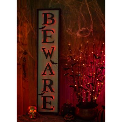 Lighted Beware Halloween Sign