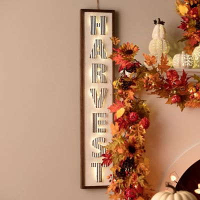 Lighted Metal Harvest Porch Sign