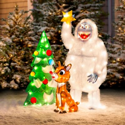 Animated Rudolph & Bumble Decorating Tree Outdoor Christmas