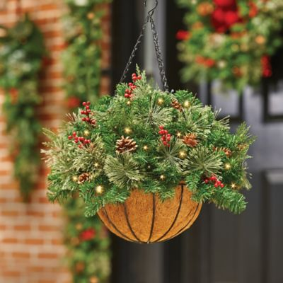 Classic Collection Pre-Lit Hanging Basket