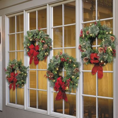 Classic Collection Pre-Lit Double Sided Christmas Wreath-Set of