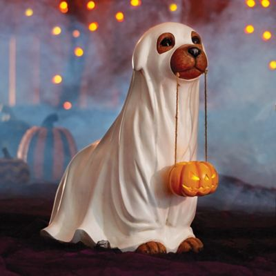 Trick or Treat Dog Statue Halloween Decoration
