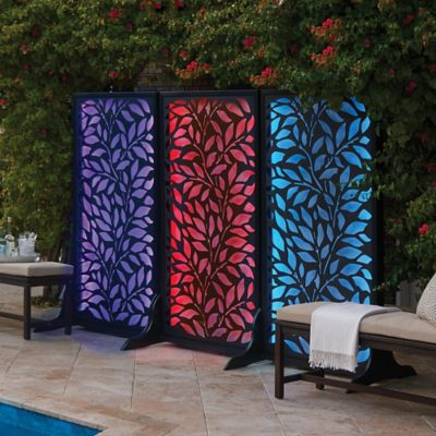 Color Changing Lighted Leaf Pattern Privacy Screen