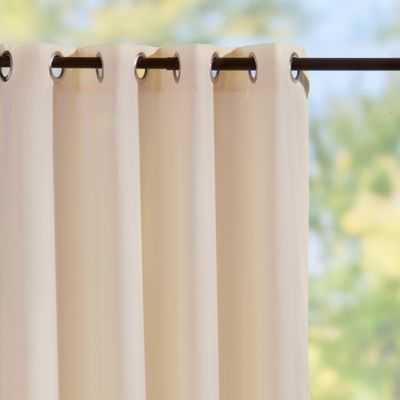Grommet-Top Semi-Opaque Outdoor Curtain Panels-Beige