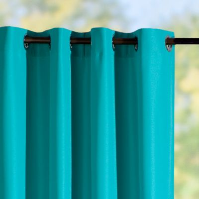 Grommet-Top Semi-Opaque Outdoor Curtain Panels-Bahama Blue
