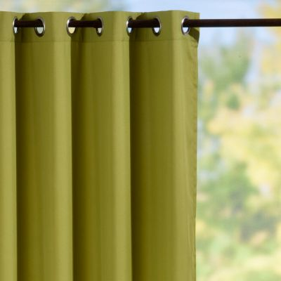 Grommet-Top Semi-Opaque Outdoor Curtain Panels-Green