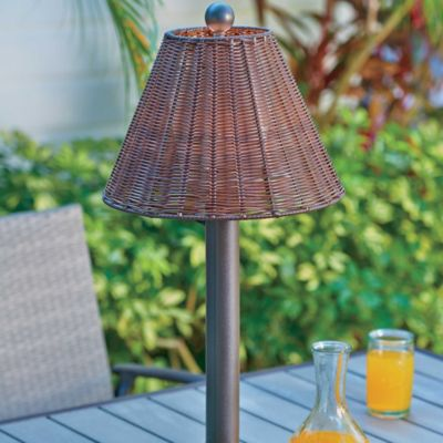 Umbrella Table Lamp with Resin Wicker Shade