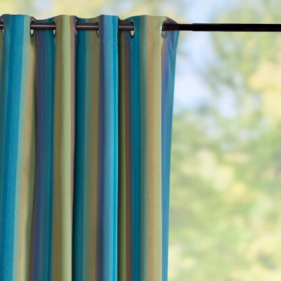 Sunbrella Outdoor Curtain Panel-Astoria Lagoon Stripe