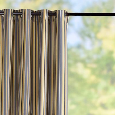 Sunbrella Outdoor Curtain Panel-Foster Metallic Stripe