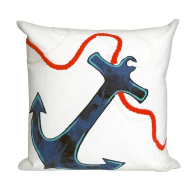 Anchor White Outdoor Pillow