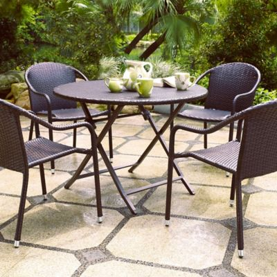 Palm Harbor Resin Wicker Stackable Table & Chairs