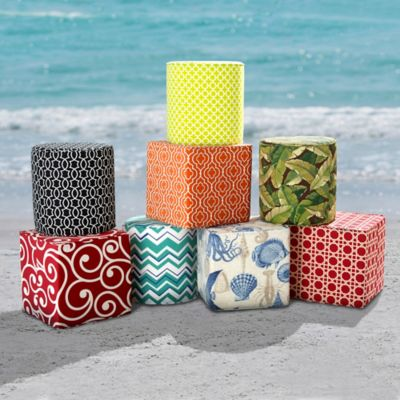 Outdoor Specialty Printed Pouf Ottomans