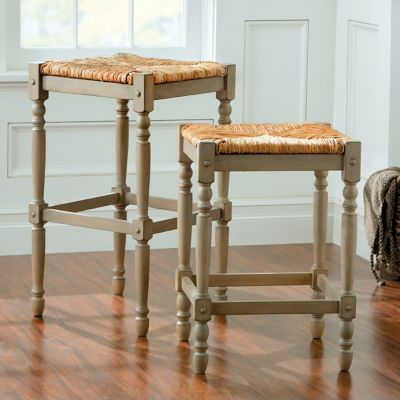 Townsend Oversized Rush Bar Stools-Weathered Gray