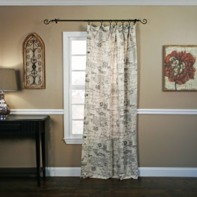 French Script Taffeta Tailored Curtains