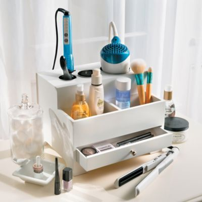 Hair Styler Organizer with Built-in Power Strip