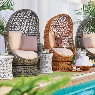 Bativa Resin Wicker Swivel Chairs