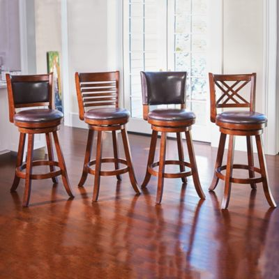 Faux Leather and Wood Swivel Bar Stools