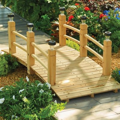 Wood Garden Bridges with Removable Plugs