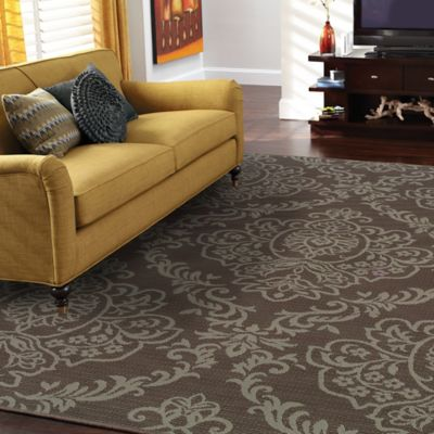 Lovina Brown Demask Indoor/Outdoor Rugs