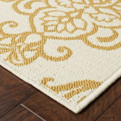 Lovina Gold Demask Indoor/Outdoor Rugs
