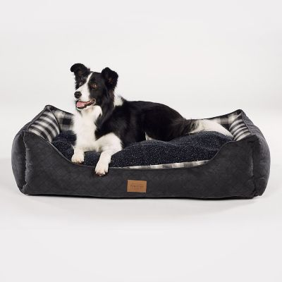 Kuddler Charcoal Ombre Plaid Dog Beds
