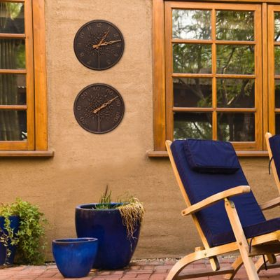 Tree of Life Outdoor Wall Clock & Thermometer