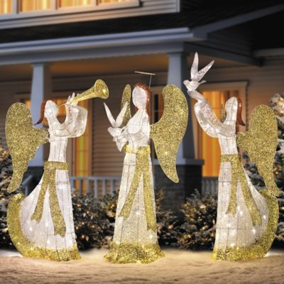 5' Lighted Animated Angel with Horn Outdoor Christmas