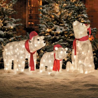 pre lit polar bear christmas decoration set of 3 improvements - Pre Lit Polar Bear Christmas Decoration Set Of 3
