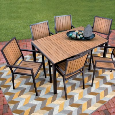 faux wood aluminum outdoor table with 6 chairs improvements rh improvementscatalog com Wood Patio Furniture Set synthetic wood patio table