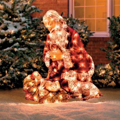 Kneeling Santa Lighted Yard Art Improvements