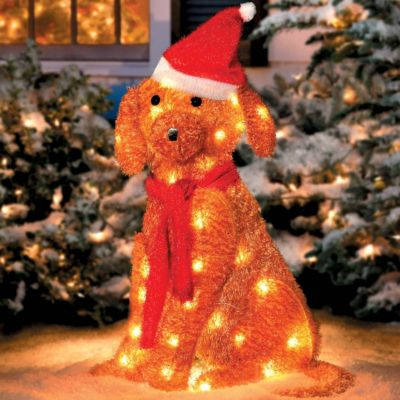 lighted golden retriever with santa hat improvements - Outdoor Dog Christmas Decorations