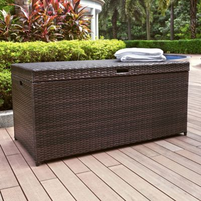 Palm Harbor Resin Wicker Outdoor Storage Bin