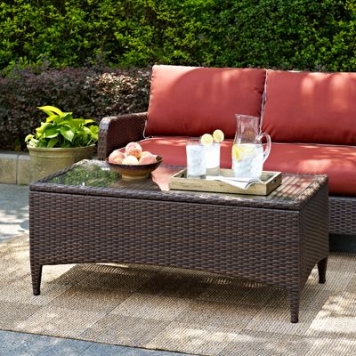 Kiawah Resin Wicker Patio Coffee Table With Glass