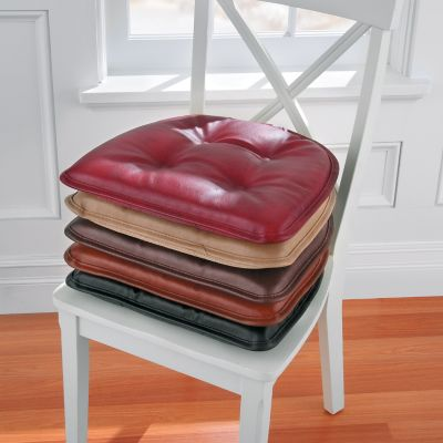Charming Faux Leather Gripper Chair Pad