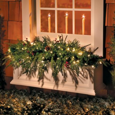 3 12 lighted natural look window box christmas swag - Window Box Christmas Decorations