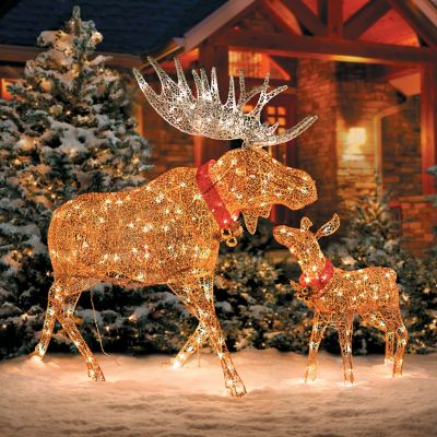lighted glittering moose outdoor christmas decoration improvements