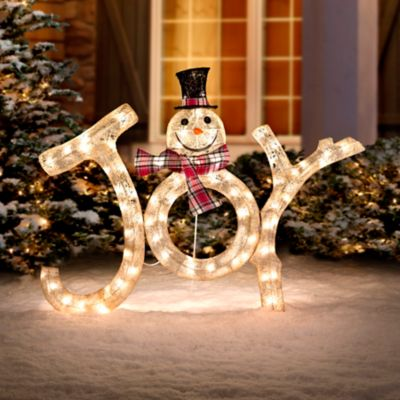 3 lighted joy snowman outdoor christmas decoration - Joy Outdoor Christmas Decoration