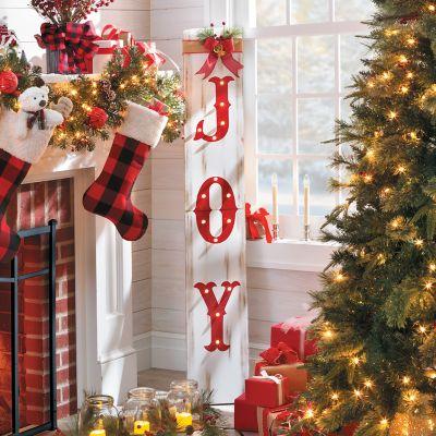 joy wooden sign lighted christmas decor - Lighted Christmas Ornaments