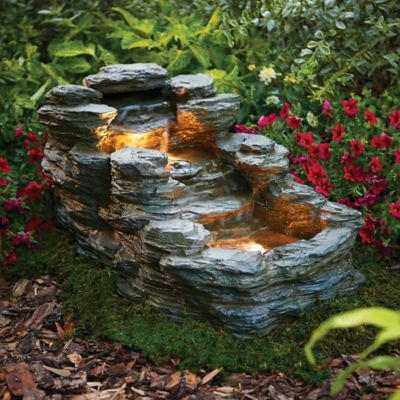 3 Tier Rock Fountain With Lights