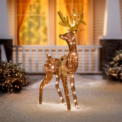 32 grapevine bronze glittered standing deer christmas decor