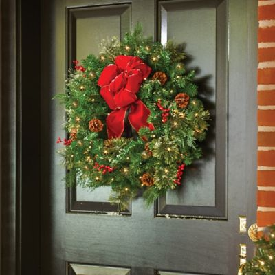 classic collection pre lit christmas wreath 24 - Battery Operated Christmas Yard Decorations
