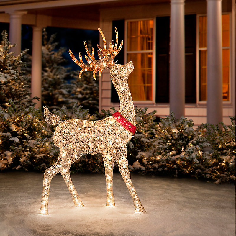 glittering champagne buck christmas decoration