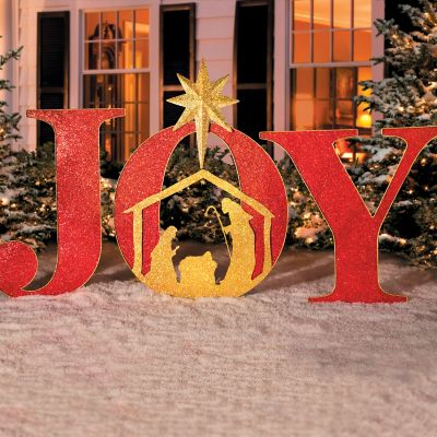 Frosted lighted presents outdoor christmas decorations set for Large outdoor christmas signs