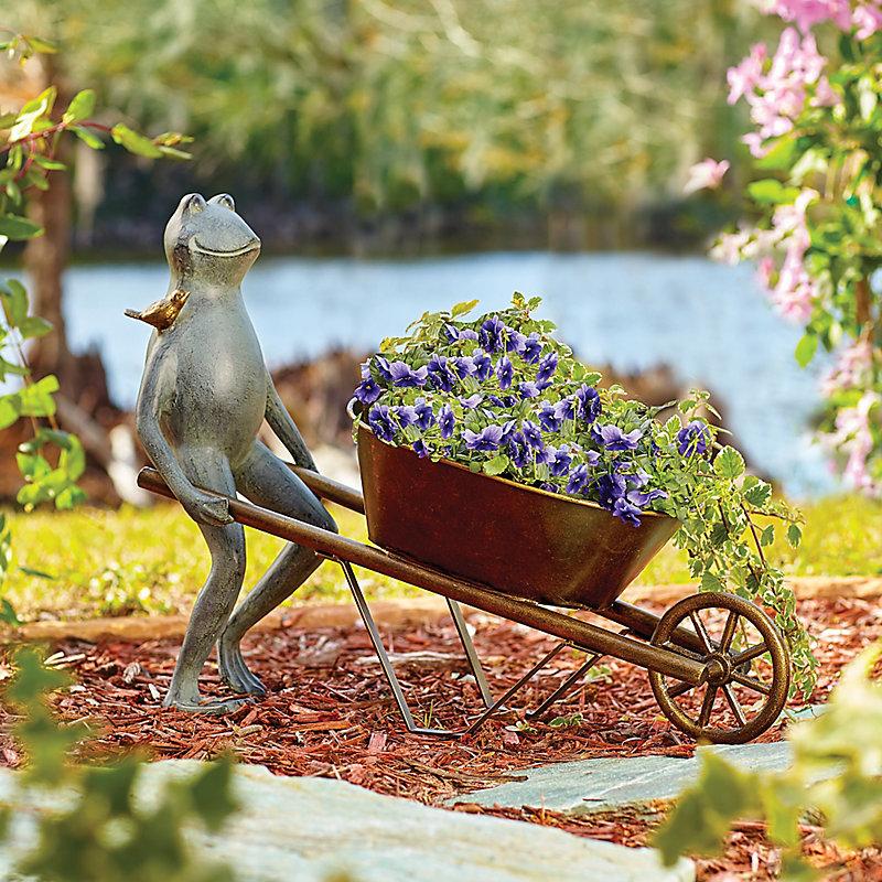 Frog with Wheelbarrow Planter