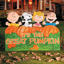 Lighted pop up pumpkin stack halloween decoration improvements its the great pumpkin charlie brown metal outdoor halloween decoration aloadofball Gallery