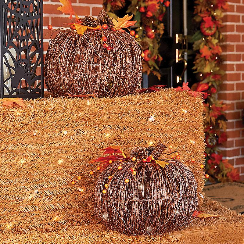 Pre-Lit Grapevine Pumpkin Fall Decoration-Set of 2