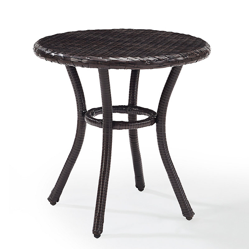 Palm Harbor Round Wicker Side Table   Brown